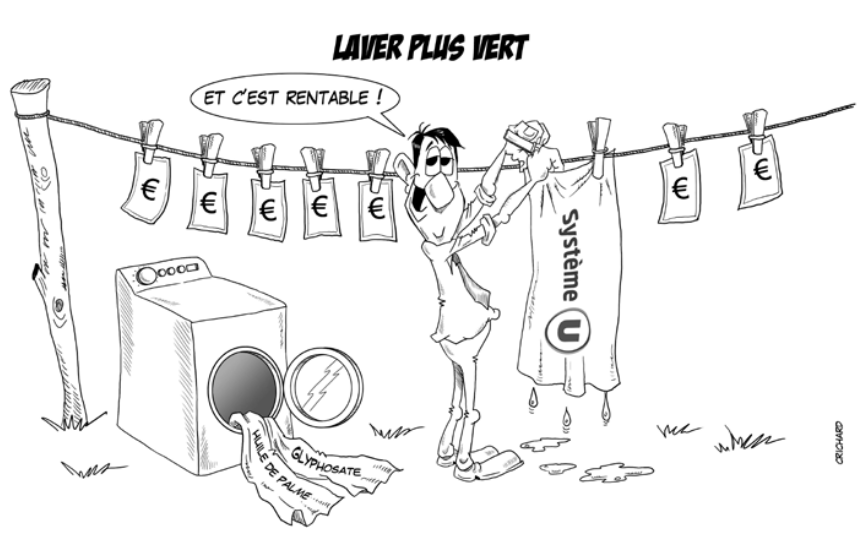 dessin CRichard : course greenwashing grande distribution