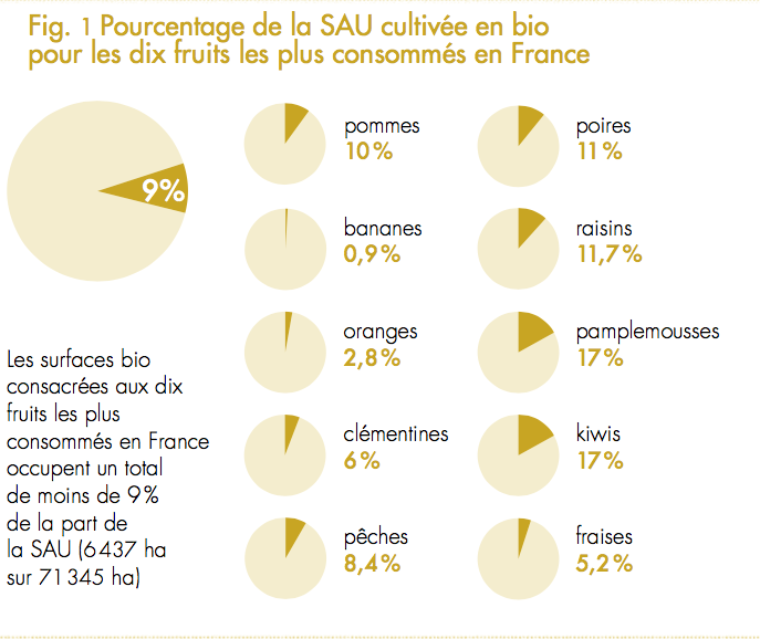 fig1 pourcentage de la SAU en bio pour 18 fruits en France