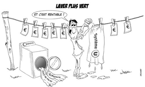 dessin CRichard : course greenwashing grande distribution