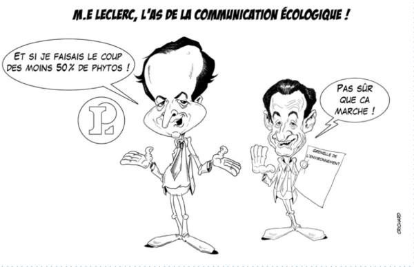 dessin CRichard pour AE : leclerc capitule devant Greenpeace