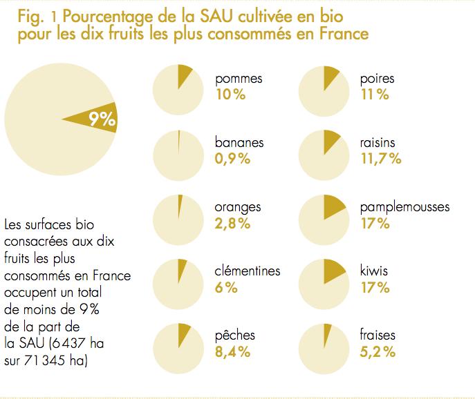 fig1 pourcentage de la SAU en bio pour 18 fruits en France
